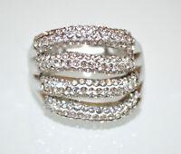 ANELLO donna argento elastico fascia strass cristalli pavè a molla elegante A15