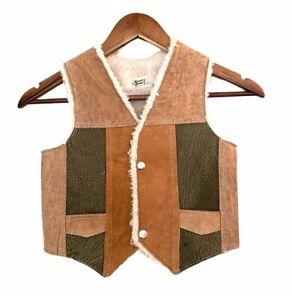 Vintage Genuine Leather Kids Patchwork Snap Up Tan Green Sherpa Vest Size 12