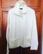 New! LANDS END Cream Funnel Neck 100% Cotton Swing Coat Jacket Cardigan - XL