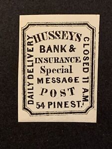 N3/1 US Stamp 87L43 US Local Post Husseys Bank & Insurance Post MNHOG Great Co