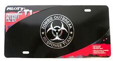 3D Zombie Outbreak Response Team Black Stainless Steel Vanity License Plate