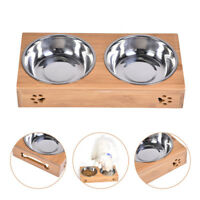 Double Bowls Stand Pet Dog Puppy Stainless Steel Feeding Station Food Water