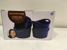 NIB Rachael Ray Stoneware 4-Piece Bubble & Brown Singles Blue Stoneware NEW