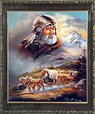 Western Covered Wagon Cowboy Living Room Wall Decor Art PrintFramed Picture