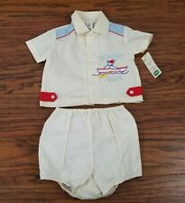 Vintage Mayfair Baby Shirt 2 pc Sz 12 Months Embroidered Bear Boat Nautical New