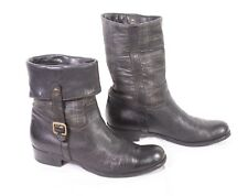6D Manas Design Damen Stiefel Boots Gr. 41 Leder schwarz kariert Umschlag