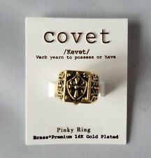NWT Covet Pinky Ring Cross Gold Black Premium 14K Gold Plated Brass Size 4