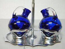 Vintage Farber Bros Cobalt Blue Oil & Vinegar Cruets Cambridge Art Deco w/Tray