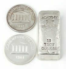 3 pc. Set Academy 10 oz Poured Bar with 1983 & 1984 Academy 1 oz Silver Rounds