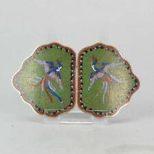Lot 19/20th c Chinese Japanese Cloisonne Belt Buckle Bronze or Copper Ch...