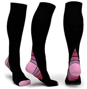(2 Pair) Compression Socks Jogging Sport Men Women Calf Shin Leg Running Fitness