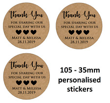 35MM KRAFT BROWN PERSONALISED WEDDING THANK YOU LABELS STICKERS
