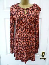 Ladies Size 10 Red Orange Multi Boho Retro Bird Peter Pan Stretchy Tunic Top