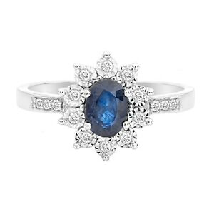 18ct White Gold Diamond and Sapphire Cluster Ring Boxed Gift UK Size N1/2