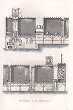 1851 VICTORIAN PRINT ~ SULPHURIC ACID CHAMBERS EQUIPMENT APPARTUS