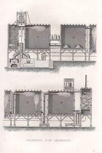 1851 Viktorianisch Aufdruck ~ Sulphuric Säure Chambers Equipment Appartus
