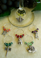 6 Garden Themed Wine Glass Charms, Garden Bugs The Good The Bad & The Beautiful!