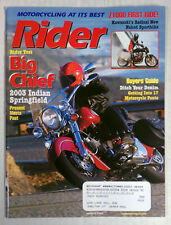 RIDER MAGAZINE BACK ISSUE HARLEY HONDA 2003 MARCH INDIAN SPRINGFIELD Z1000 NAKED