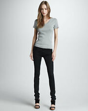 CURRENT ELLIOTT THE JEAN LEGGING 24 MATTE BLACK $188 Gray Stretch Skinny Jeans