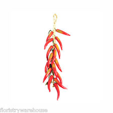 Artificial Red Chillis (16) on a Raffia Hanger 56cm/22 Inches