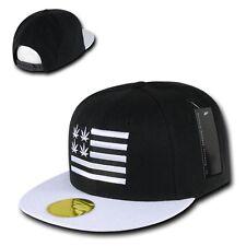 Black Weed Leaf Pot 420 Cannabis Marijuana Flat Bill Snapback Baseball Cap Hat