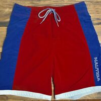 Nautica Mens Size 32 Swim Trunks Shorts Red White Blue Color Block Lined 8in Ins