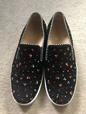 Christian louboutin Slip On Shoes Suede Velour With Gems Eu39 Uk5 Black
