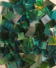 Sea-Green Mix Stained Glass Mosaic Scrap Pack, about 100 Hand Cut Pieces