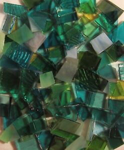 Mosaic Glass: SEA-GREEN MIX, 5 oz Stained Glass pack (about 100 Hand Cut Pieces)