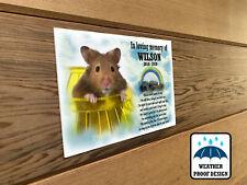 Personalised pet Hamster memorial plaque, Bench plaque, Grave marker plaque.