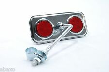 CHROME RECTANGLE BICYCLE MIRROR w/RED REFLECTORS