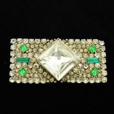 Antique Sterling Silver Emerald Paste Brooch