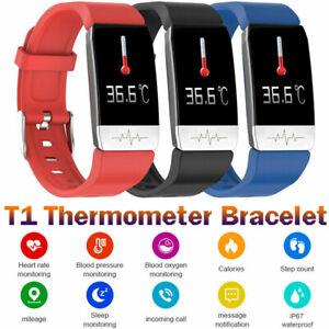 T1 Orologio Intelligente Thermometer Misurazione Smartwatch Fitness Tracker S8Y7