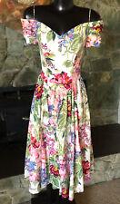 Vintage MODA INT''L Off-the-Shoulder Chintz Cotton Floral Print Dress  Roses  6