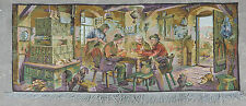 Vintage French Friends Play Cards Scene Wall hanging 64X162cm A113