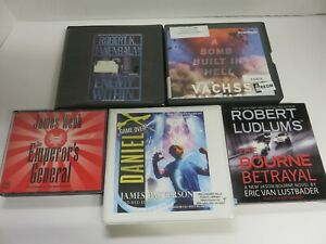 Lot of 5 Audiobooks on CDs -  fiction, category - mysteries  & thrillers #213
