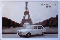 PLAQUE METAL publicitaire vintage RENAULT 16  1967 - 30 x 20 cm