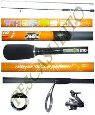 kit canna light spinning theros 2.10m 2/10g + mulinello + filo pesca trota lago