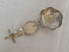 ANTIQUE  FANTASTIC DUTCH SILVER ORNATE TEA STRAINER W / SILVER RIDER & WINDMILL