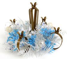 Vtg Candelabra Tiny Taper Candle Holder Plastic Flower Xmas Blue Silver 5 Retro