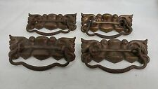 "4 Fancy Antique Drawer Pulls back plates measure approximately 4 3/4"" x 1 3/4"""