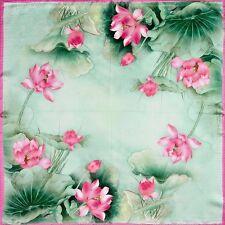 "100% Silk Scarf Lotus Pink & Green 20"" X 20"" Thick Square Bandanna Neckerchief"