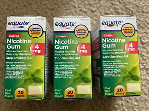 Equate Nicotine Coated Gum 4 mg, Stop Smoking Aid, Mint Flavor, 60 count 10/22