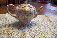 Arthur Wood & Son Staffordshire England Teapot #6818 Chintz Pink Roses Great!!