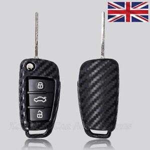 Carbon Fibre Key Cover for AUDI 3 Button Flip Key Case Remote Fob Protector s58c