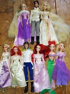 Disney Store Princess Wedding Dolls Rapunzel Flynn Ariel Eric & Mattel Bundle