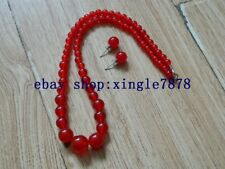 Beads Necklace Earrings Set 999 New 6-14mm Natural Red Ruby Round