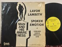 Lavon Lambeth Man And His Awareness VG+ VEL private black spoken word poetry
