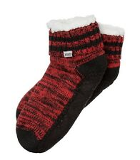 NWT VICTORIA'S SECRET PINK RED BLACK SOFT SHERPA LINED SLIPPER SOCKS ONE SIZE