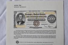 1984 Bep B71 1872 $500 Gold 93rd Ana Convention Detroit Souvenir Card E3118